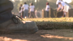 Worker placing sod Stock Footage