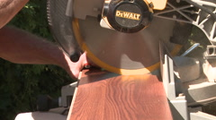 Table Saw Cutting Hardwood Flooring - stock footage