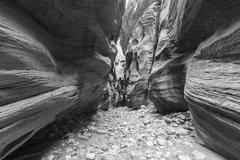 Black and White Slot Canyon Buckskin Gorge Utah Stock Photos