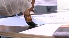 Painting on canvas Stock Footage