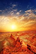 Sunrise,sunset skyline and landscape of red sandstone in zhangye Stock Photos