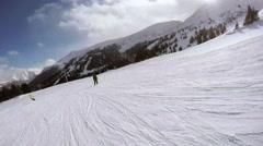 Alpine skiing at Loveland Basin ski area in early season. Stock Footage