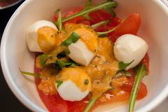 Delicious starter salad with shrimps mossels and eggs Stock Photos