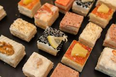 Catering set of various canapés and sweets Stock Photos