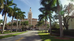 Biltmore Hotel, steady cam approach Stock Footage
