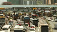 Cross-Harbour Tunnel Toll station Stock Footage