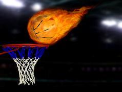 Basketball shoot on fire Stock Illustration