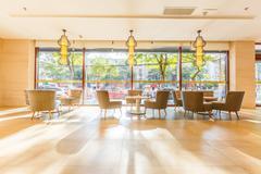 Bright floor and interior decoration of restautant Stock Photos