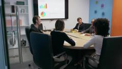 Business People In Office Meeting Room With Charts On TV Stock Footage