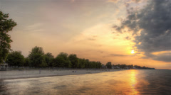 HDR Beach Sunset Timelapse Pan Stock Footage