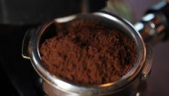 Filling Espresso Filter Close Up Stock Footage