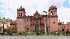 video footage of the church in Cuzco an the city center, Peru - stock footage