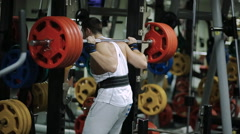 athlete powerlifter sets in the gym a new record one in two hundred pounds - stock footage