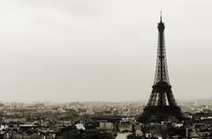 Eiffel tower and Paris roofs in black and white Stock Photos
