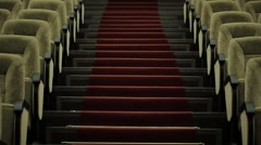 Rows of velvet seats in the concert hall Stock Footage