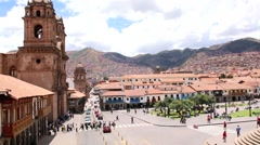 Cuzco, Peru Plaza de Armas. Church and Cathedral. On a sunny day Stock Footage