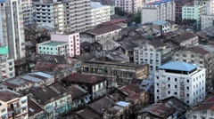 Ariel City Scene - Yangon Burma Asia - stock footage