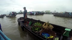 Trader on Haugiang river Stock Footage