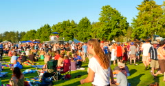 4K Crowd of People Move Through Audience at Open Air Live Music Festival, Camera Stock Footage