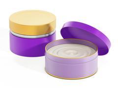 Moisturizer cream in purple container - stock illustration