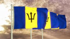 Three flags of Barbados waving in the wind (4K) Stock Footage