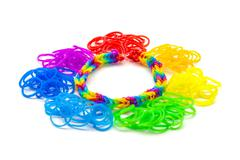 Rainbow loom Colored rubber bands for weaving accessories Stock Photos