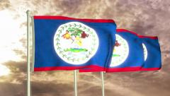 Three flags of Belize waving in the wind (4K) Stock Footage
