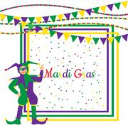 Stock Illustration of Mardi Gras Party Frame with harlequin