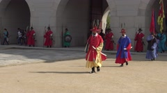4K Armed guards in traditional soldier uniforms, Gyeongbokgung Palace, Seoul-Dan - stock footage
