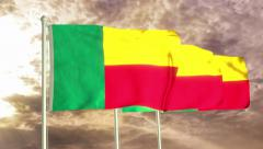 Three flags of Benin waving in the wind (4K) Stock Footage