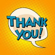 Thank you comic bubble retro text - stock illustration