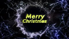 Merry Christmas, Gold Text in Particles, 4k - stock footage