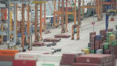 Top View Of The Cargo Port Stock Footage
