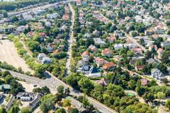 Stock Photo of Aerial View Of Suburbs Houses Roofs In Vienna