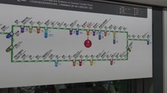 Stock Video Footage of 4K Signal the map metro Seoul inside the Subway, travelers in train station-Dan