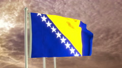 Three flags of Bosnia and Herzegovina waving in the wind (4K) Stock Footage