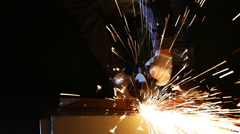 Worker working of a grinding machine Stock Footage