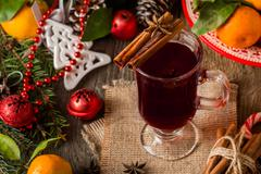 Traditional winter mulled wine - stock photo