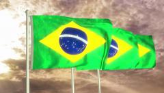 Three flags of Brasil waving in the wind (4K) Stock Footage
