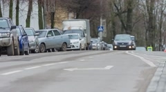 The movement of vehicles on the paved road in the city Stock Footage