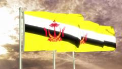 Three flags of Brunei waving in the wind (4K) Stock Footage