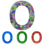 Mosaic font design - letter O Stock Illustration