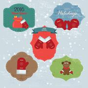Stock Illustration of Christmas Set with Notes, Stickers, Labels with winter and christmas