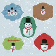 Christmas Set with Notes, Stickers, Labels with winter and christmas - stock illustration