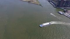 Aerials Rotterdam Waterbus on river leaving Dordrecht Stock Footage