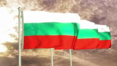 Three flags of Bulgaria waving in the wind (4K) Stock Footage
