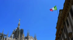 Italian flag on Royal Palace of Milan, Italy Stock Footage