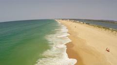 Aerial footage beach of Faro, Algarve Stock Footage