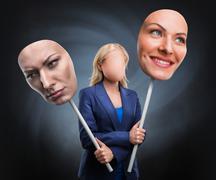 Businesswoman choosing humor - stock photo