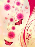 Pink floral ornament Stock Illustration